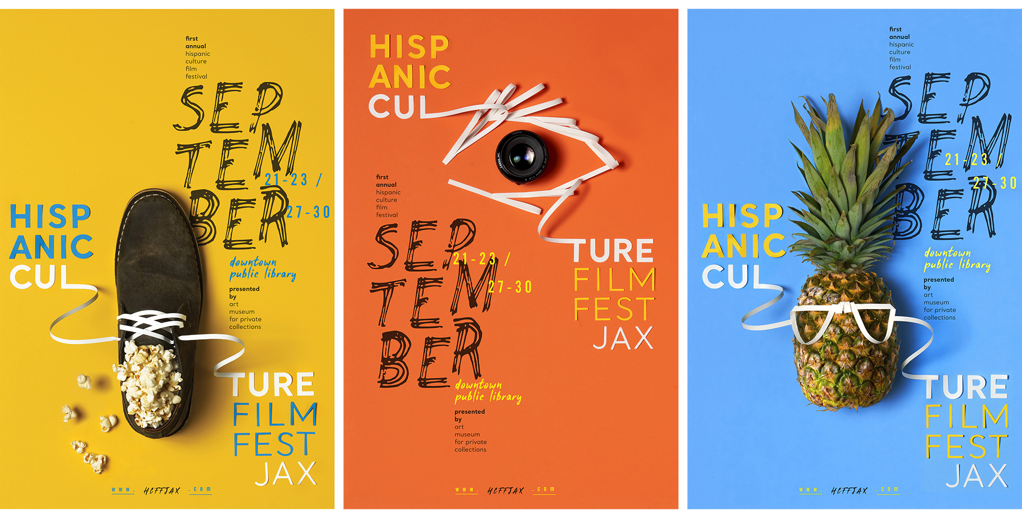 Hispanic Culture Film Fest Jax posters that show a show filled with popcorn, and eye made with a camera lens, and a pineapple with eyeglasses.