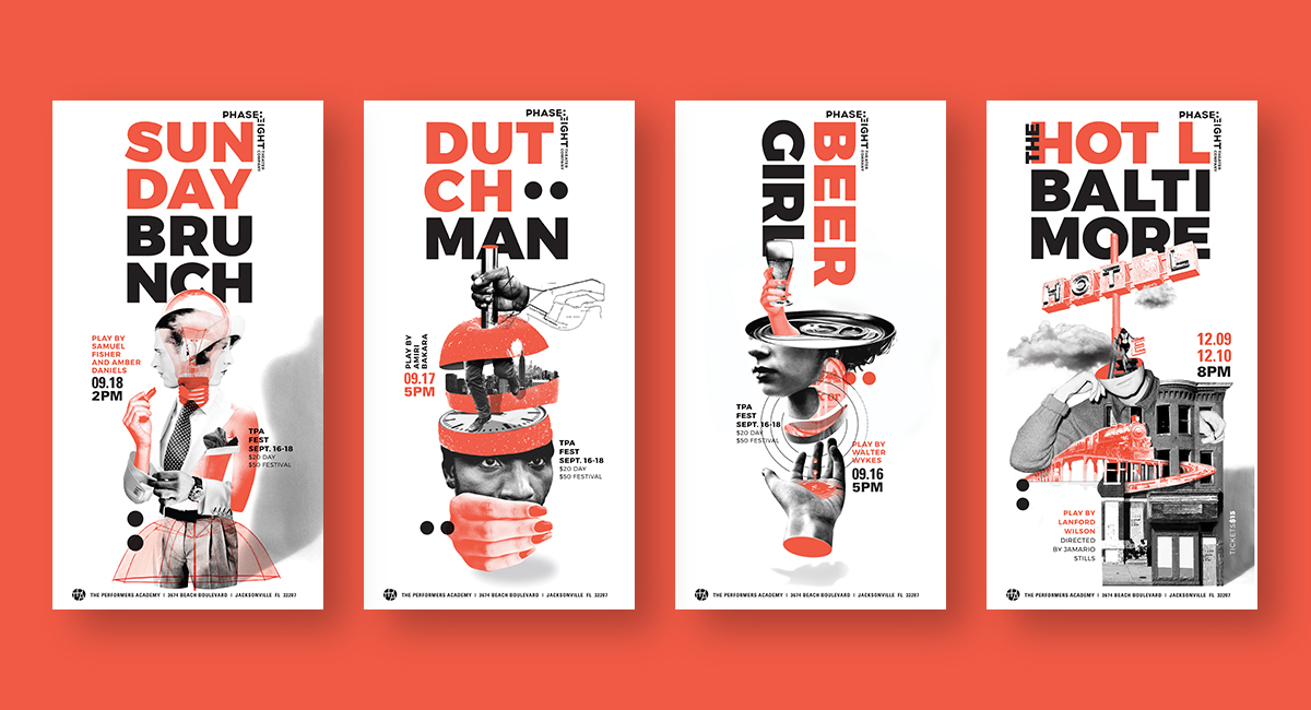 "Four posters represent four plays: ""Sunday Brunch,"" ""Dutchman,"" ""Beer Girl,"" and ""Hot L Baltimore."""
