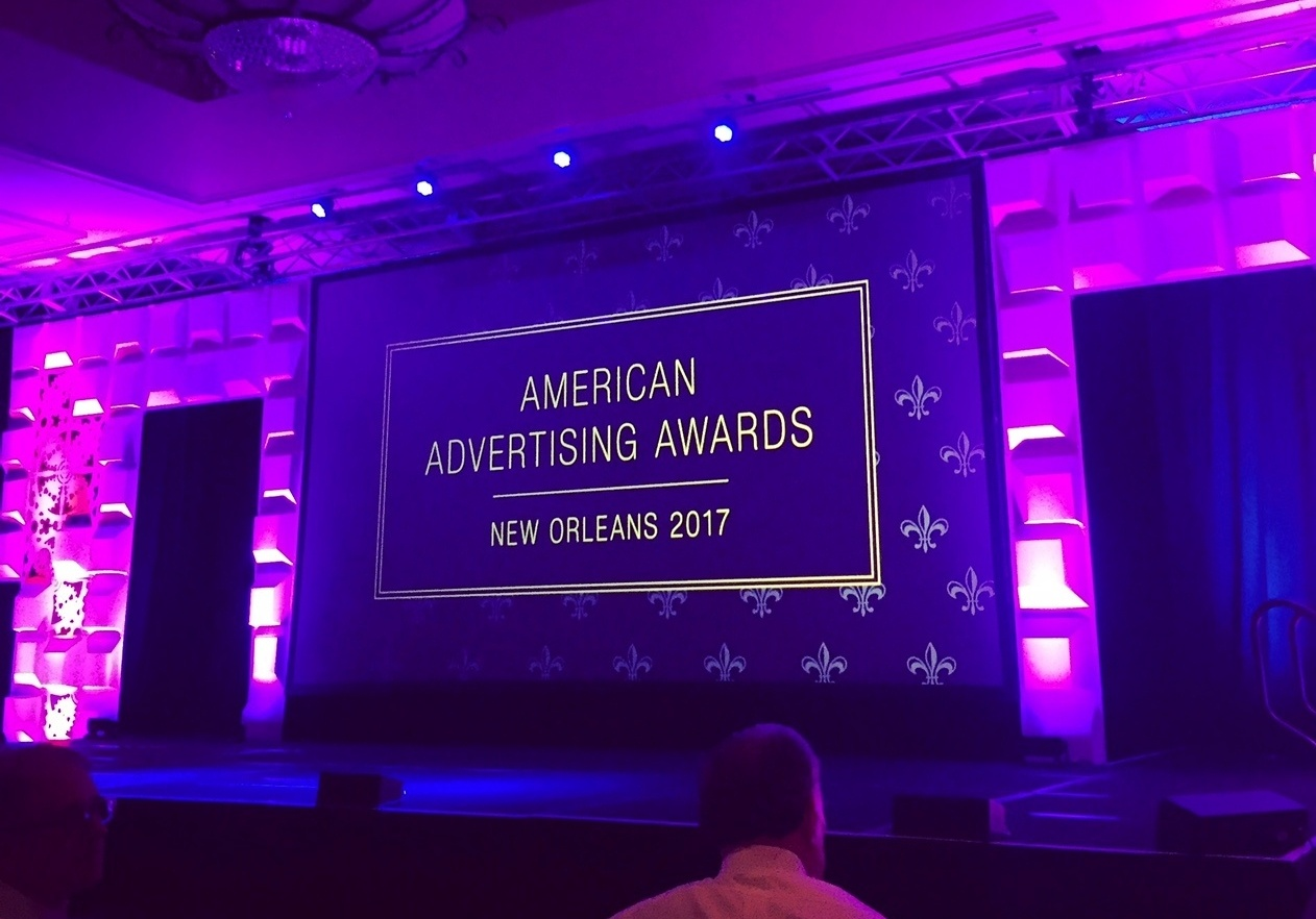 The stage shines at the beginning of the 2017 American Advertising Awards in New Orleans.