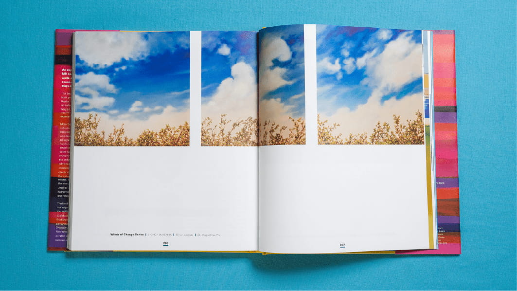 Spread from the book displaying photos of a cloudy blue sky over the tops of trees