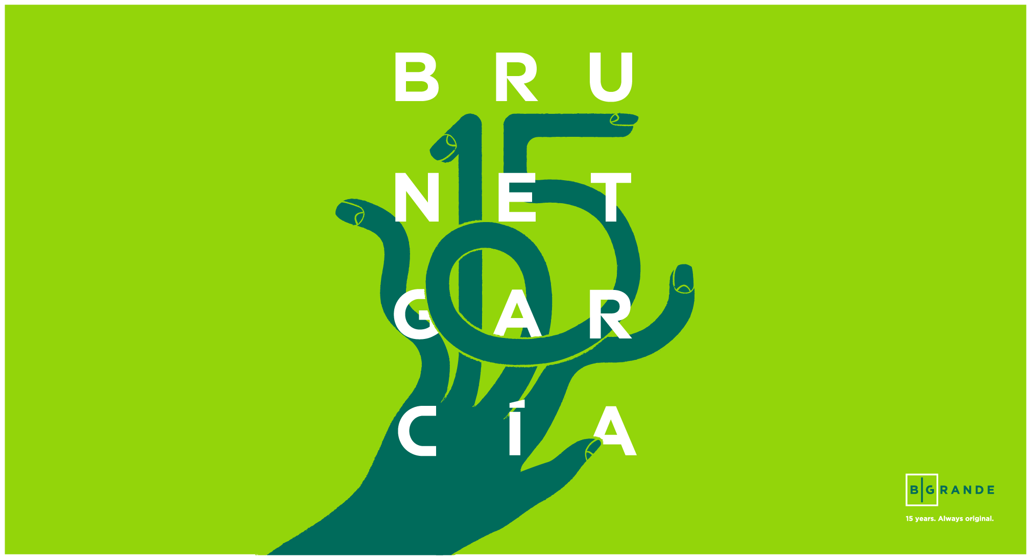 An illustration of a hand that transforms into the number 15 behind the name Brunet-García.
