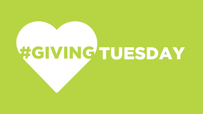 "Text reads ""#GivingTuesday"" over a green background and a heart."