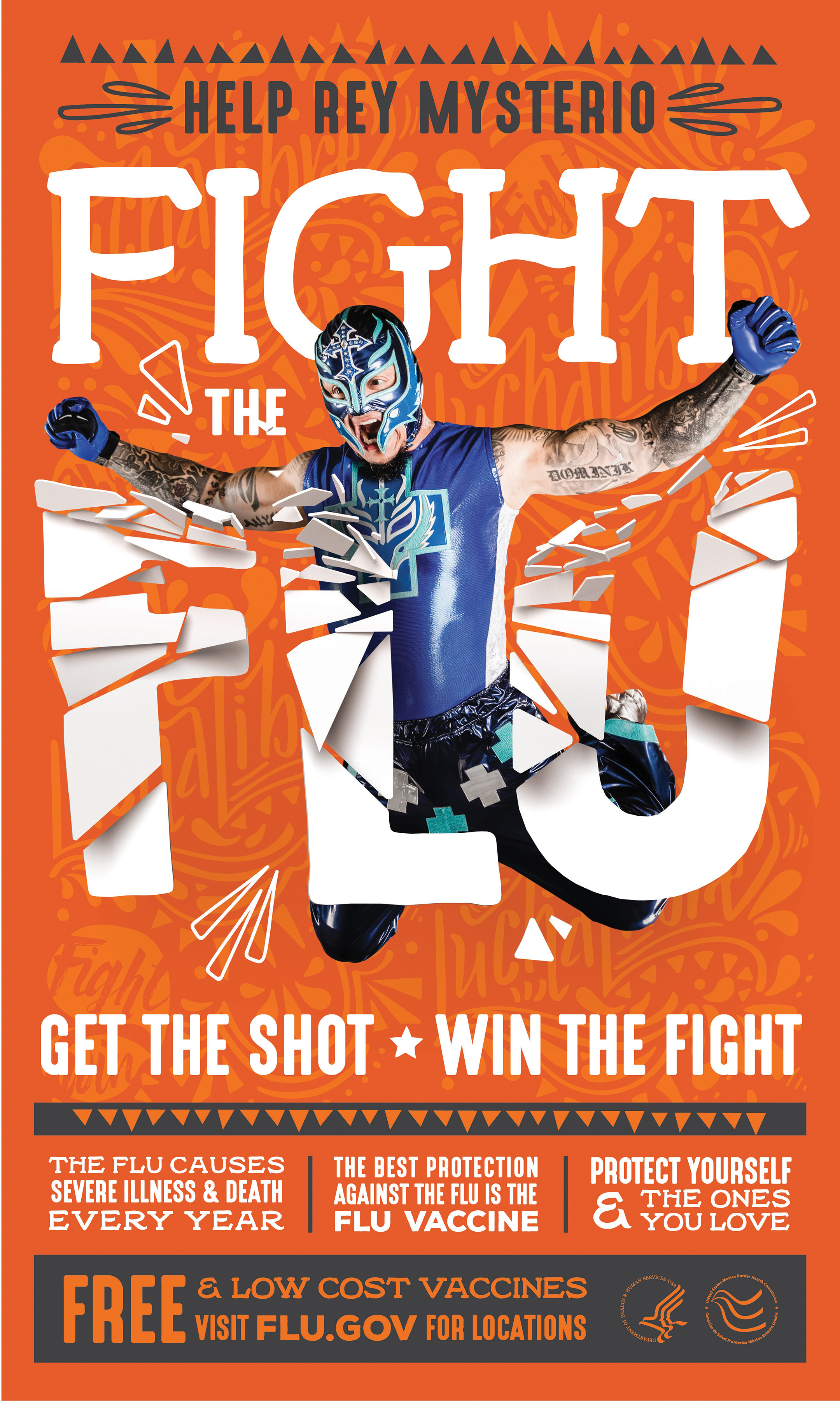 "Rey Mysterio breaks through the headline ""Flight the Flu."""