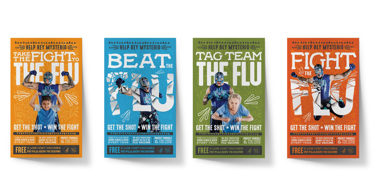 "Rey Mysterio stars in for posters with the ""Flight the Flu"" theme."