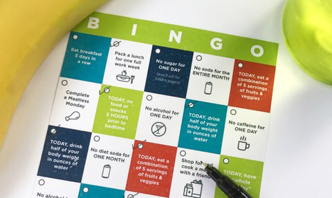 Art Director Cassie Deogracia's bingo card design makes competing fun and easy.