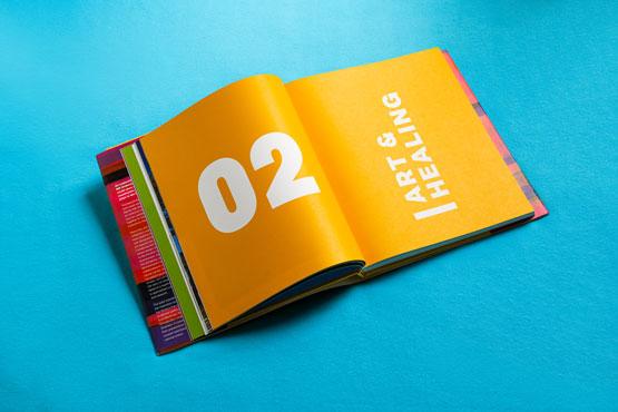 Open book showing chapter 02 - Art & Healing