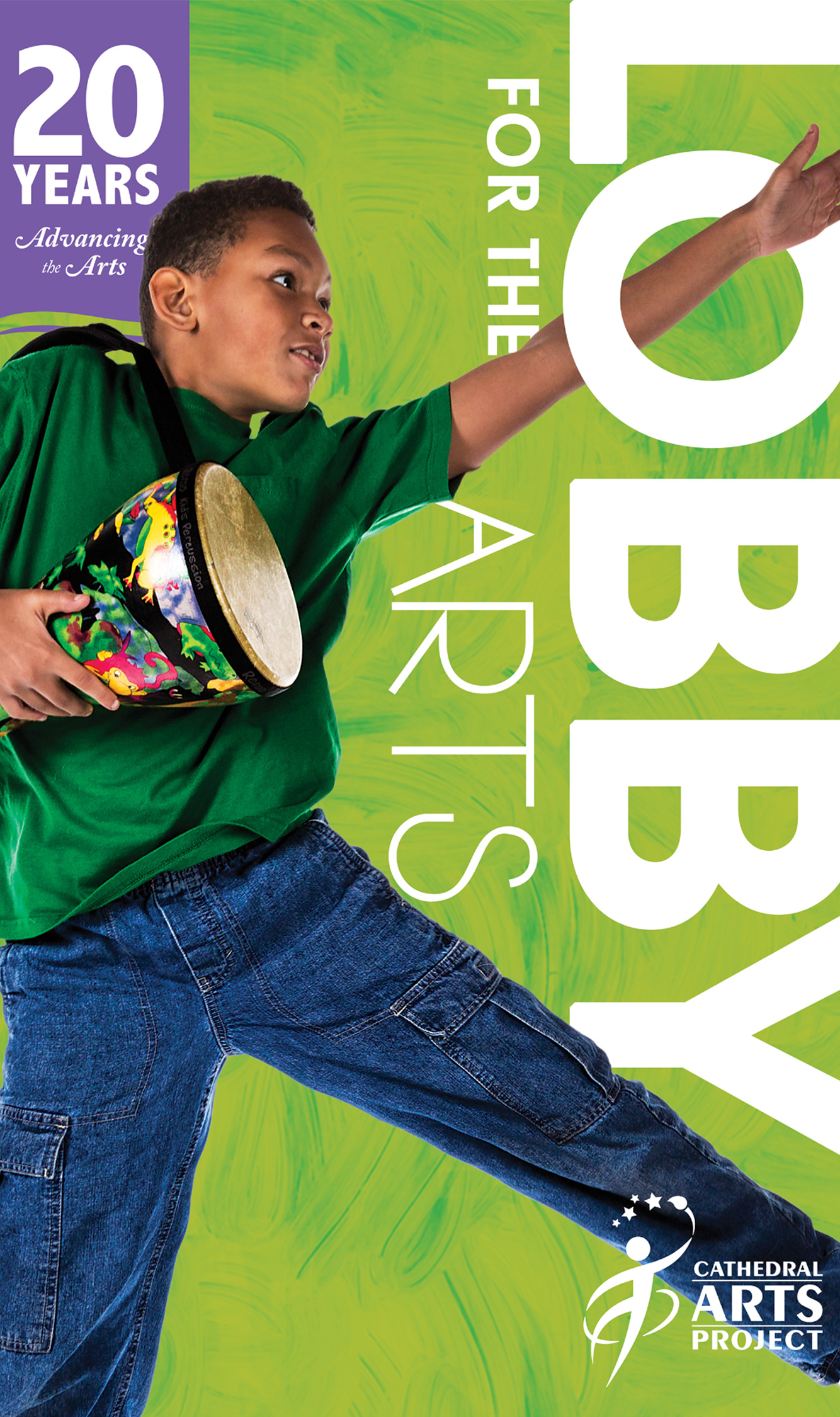brochure showing boy dancing with a bongo
