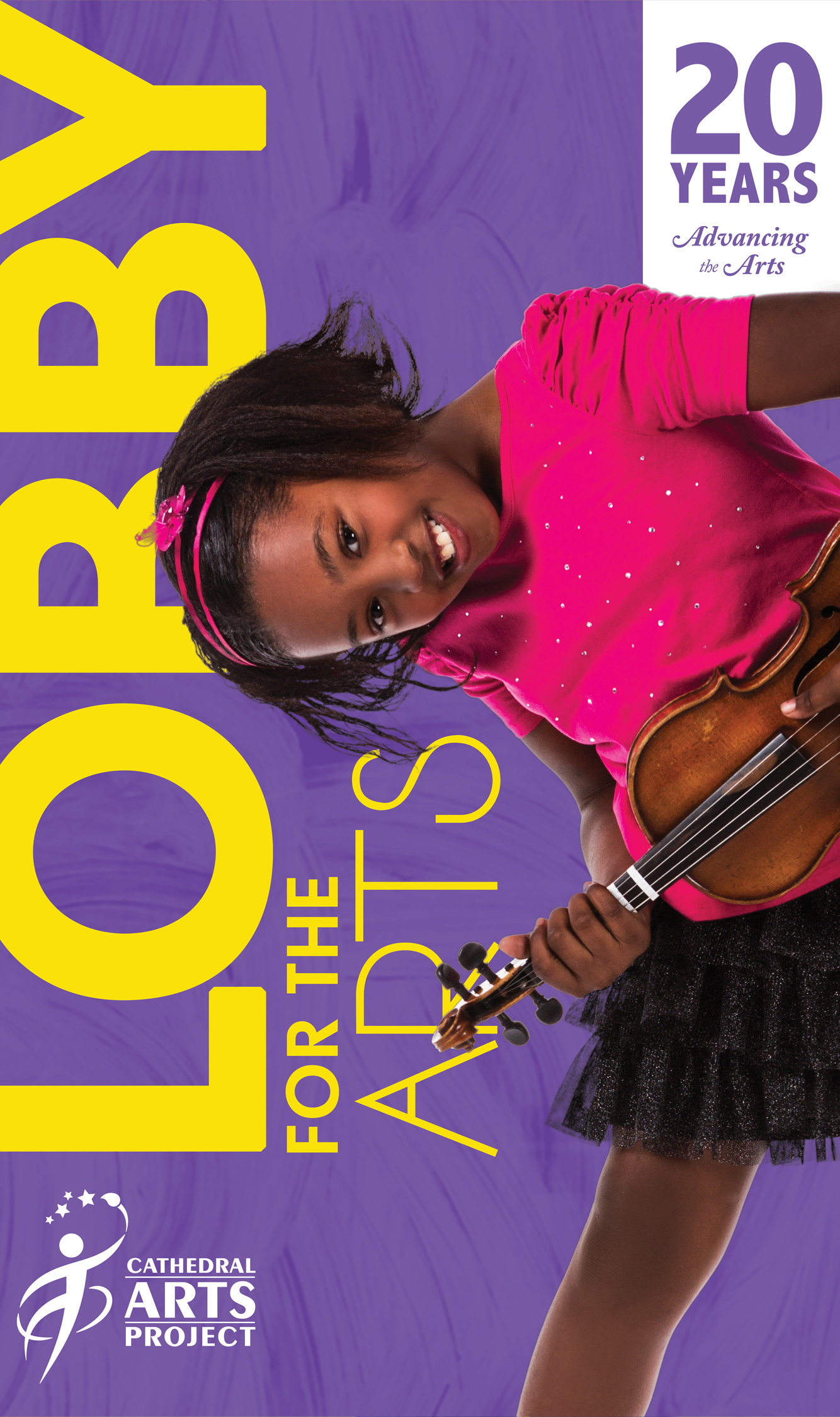 brochure showing a girl with a violin