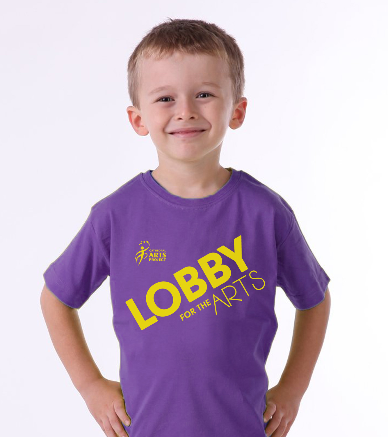A child wears the Lobby For The Arts t-shirt
