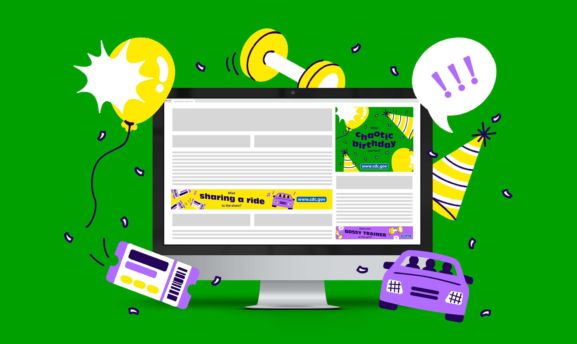 A computer showing social ads on an illustrated webpage with illustrations from the ad surrounding the computer.