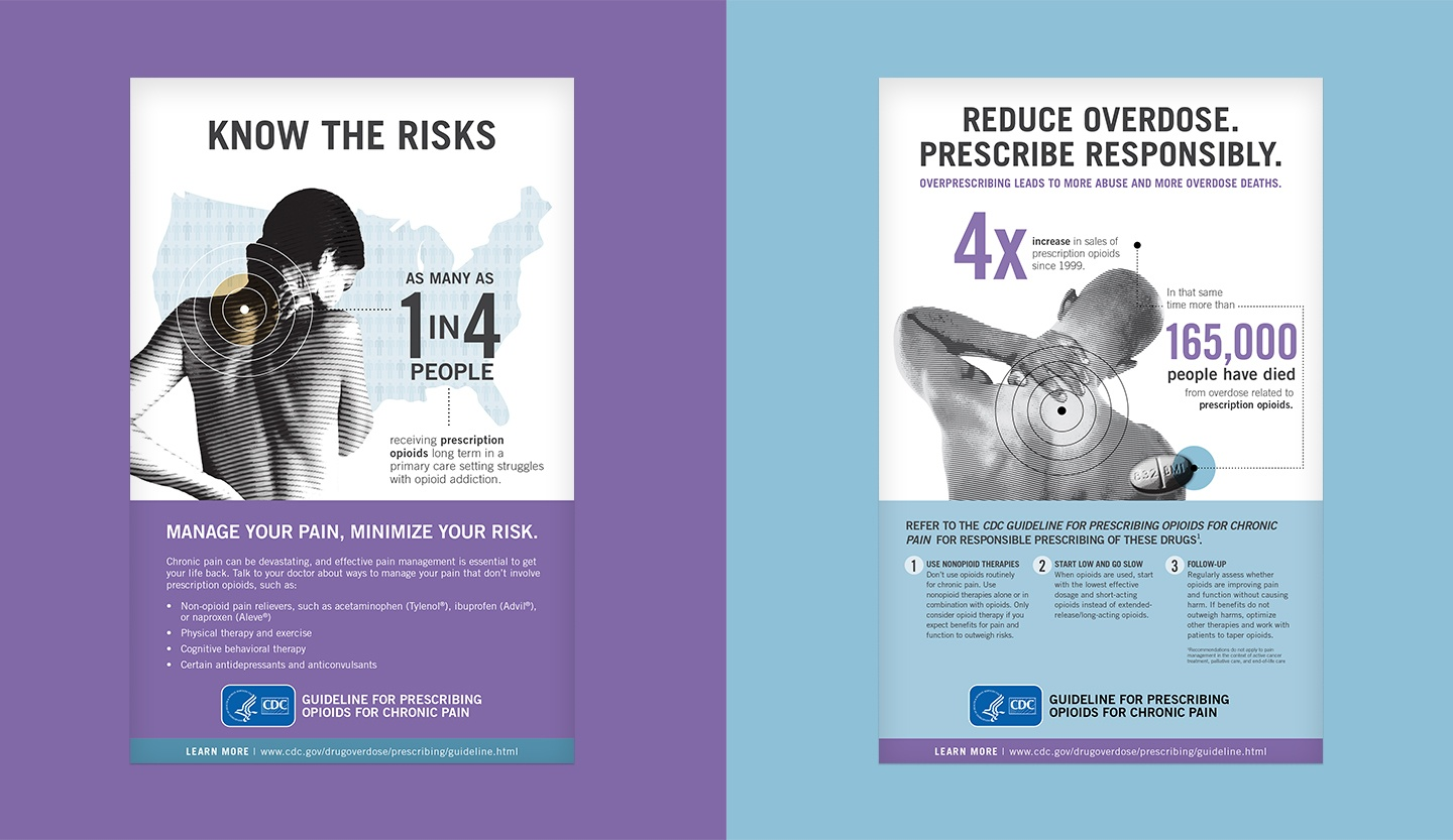 "Two opioid posters say ""Know the risks"" and ""Reduce overdose. Prescribe responsibly."""