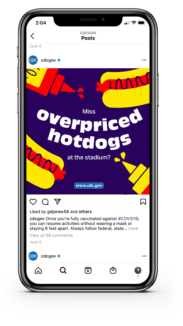 """A CDCGOV Instagram post that asks """"Miss overpriced hotdogs at the stadium?"""""""