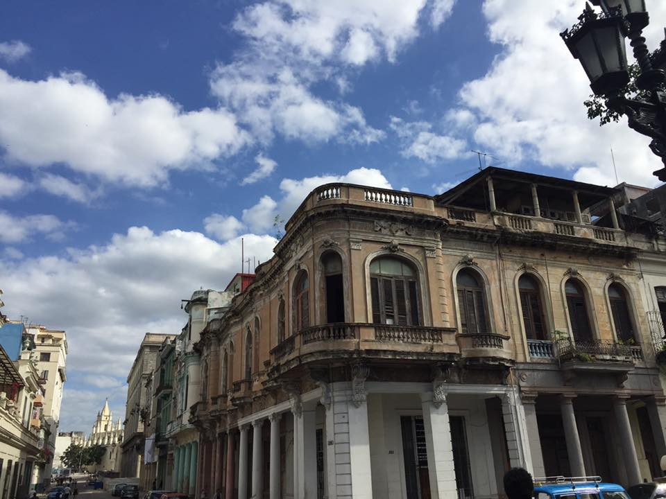 Historic buildings on a corner in Havana.