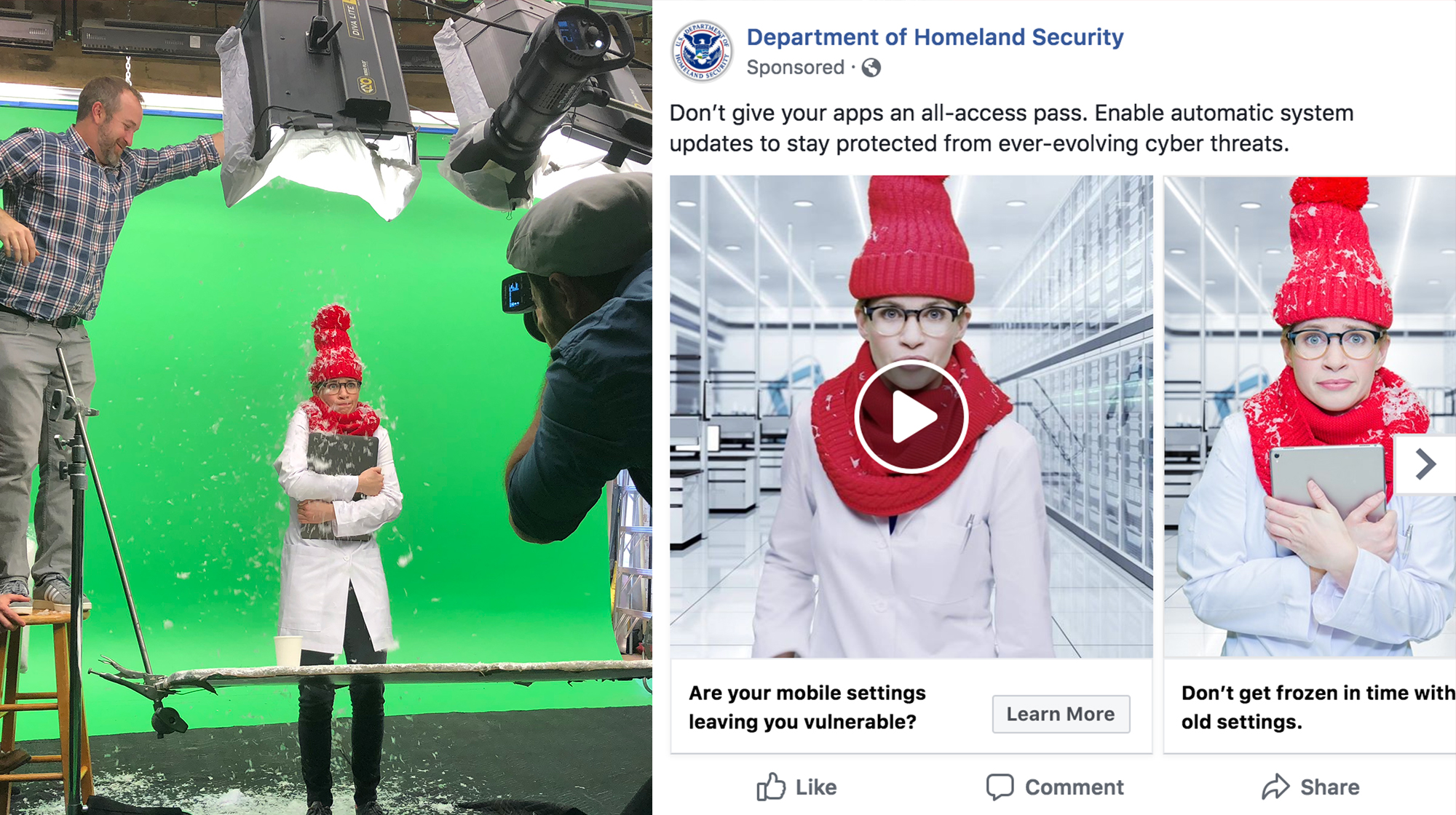 A woman in a white lab coat wears a red knitted hat and scarf while a man shakes snowflakes over her from above. To the right is a version of that image in a Facebook ad.