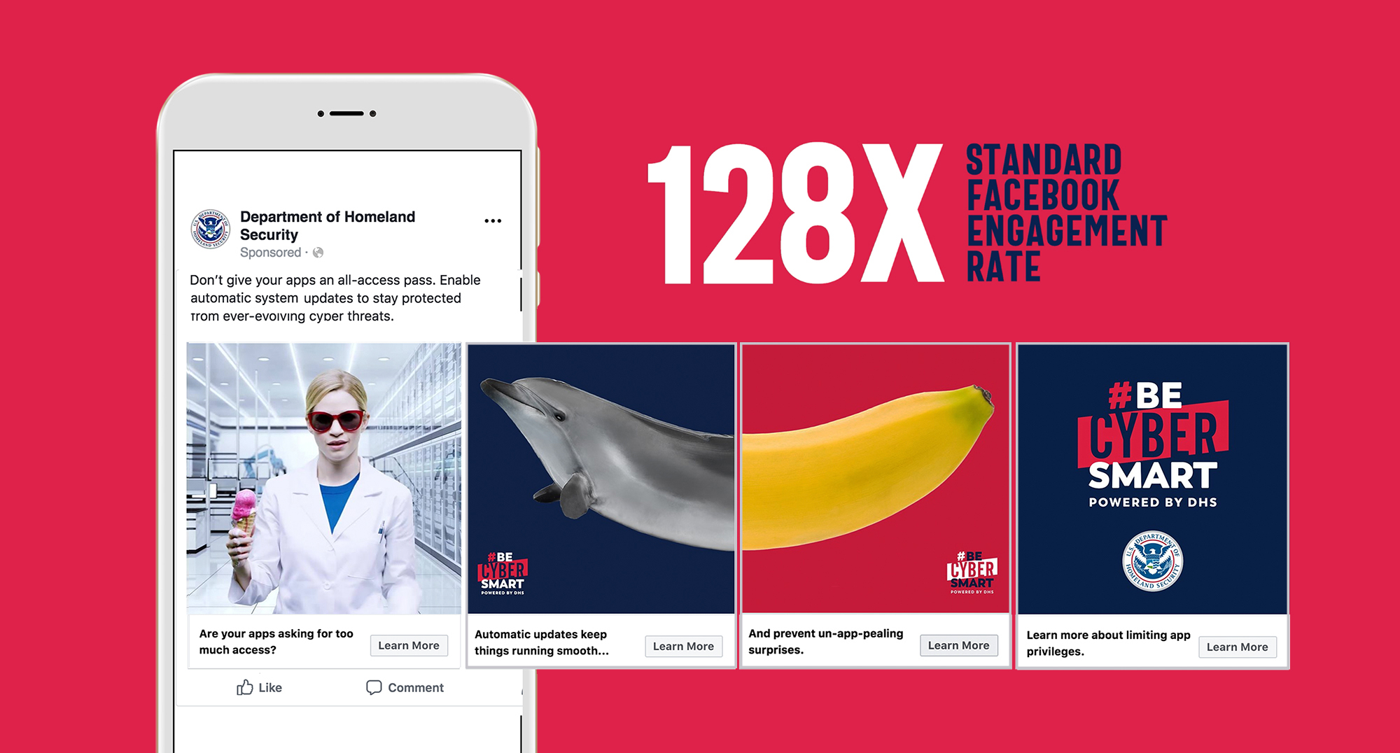 "The headline reads ""128X standard Facebook engagement rate"" next to a mobile phone with an example of a mobile ad for #BeCyberSmart."