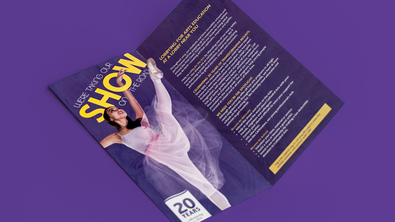 brochure showing a ballerina dancing