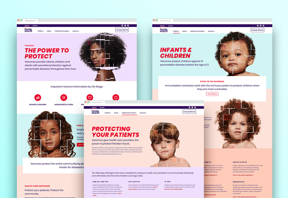 The Power To Protect homepage, Infants & Children page and the Health Care Provider page.