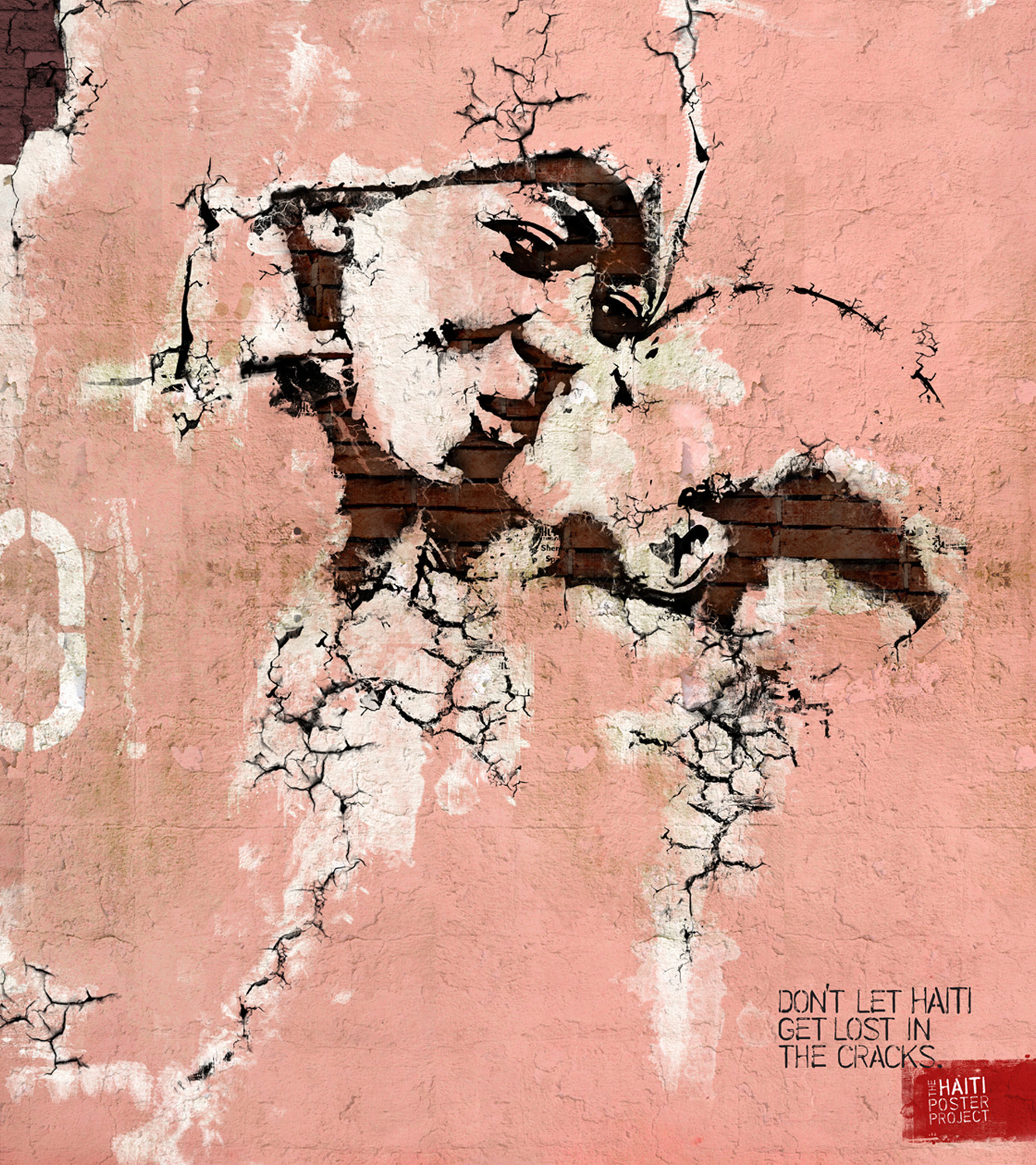 poster showing a cracked painting of a mother kissing her child