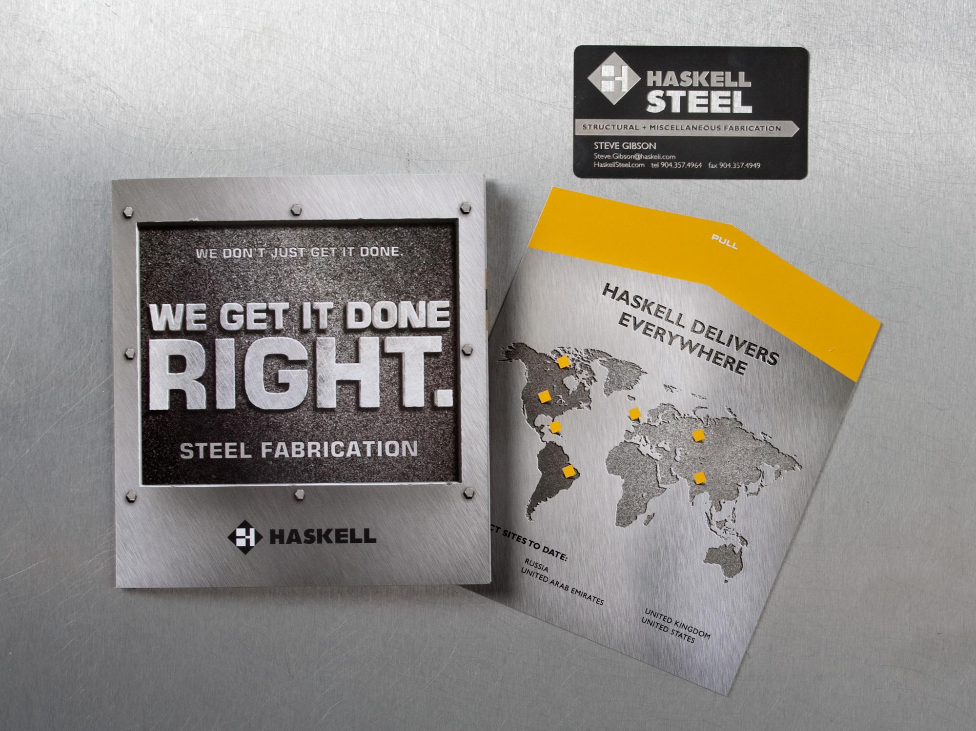 Haskell Steel brochure closed and business card