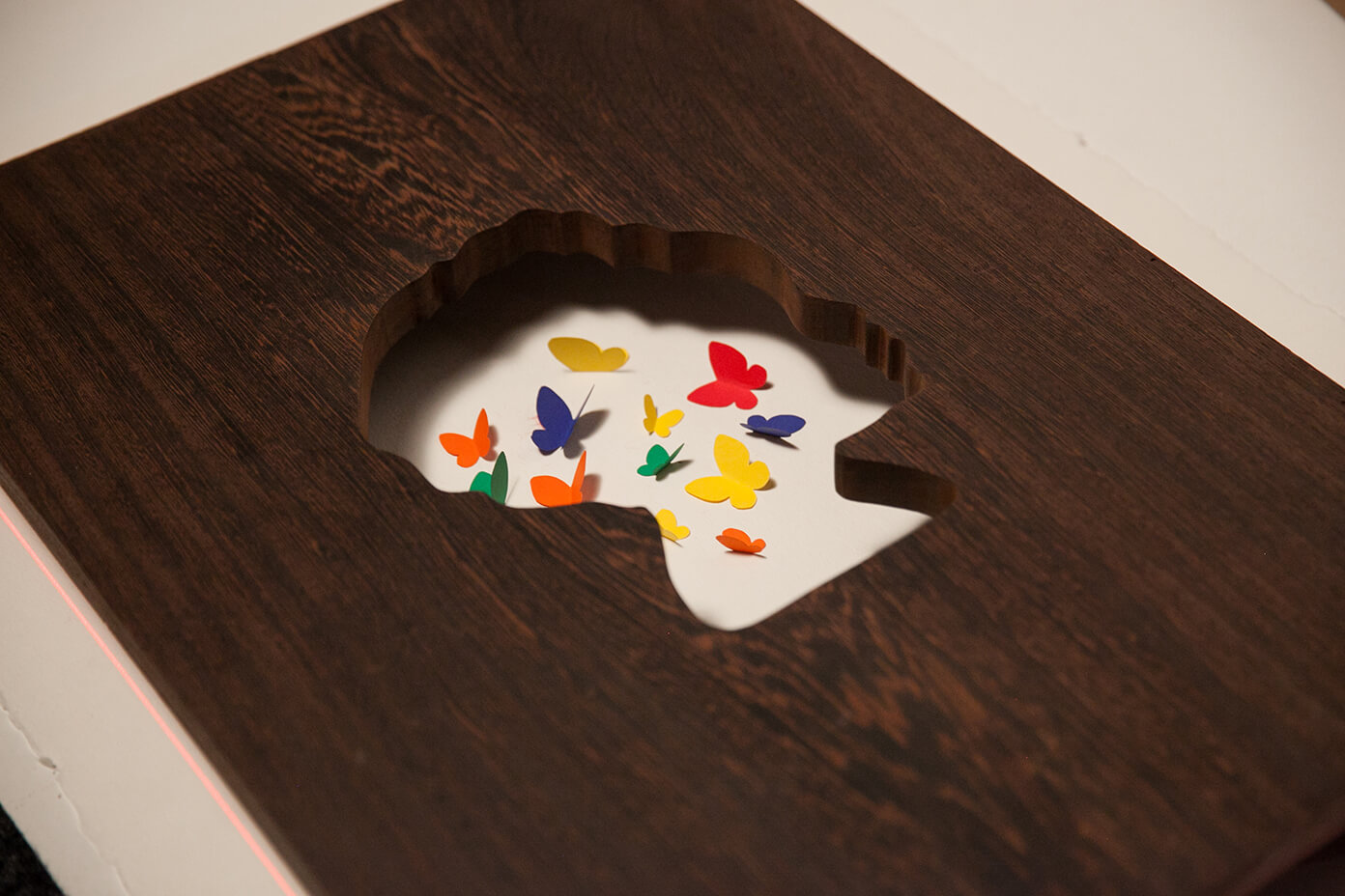 Closeup depiction of cut wood in the shape of a young woman's head, with colorful butterflies inside