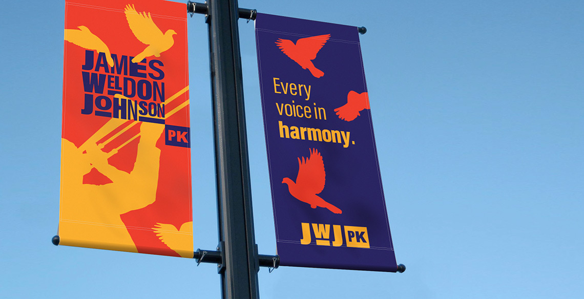 James Weldon Johnson Park lamp post signage