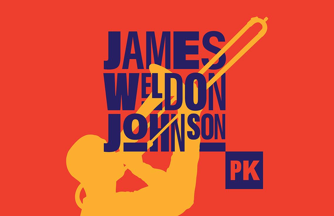 James Weldon Johnson Park logo designed with a trombone player silhouette