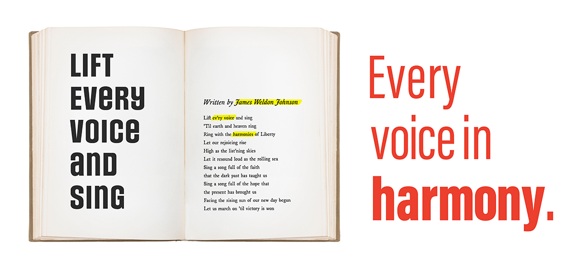 An open book with the lyrics from Lift Every Voice and Sing next to the tagline that reads: Every voice in harmony.