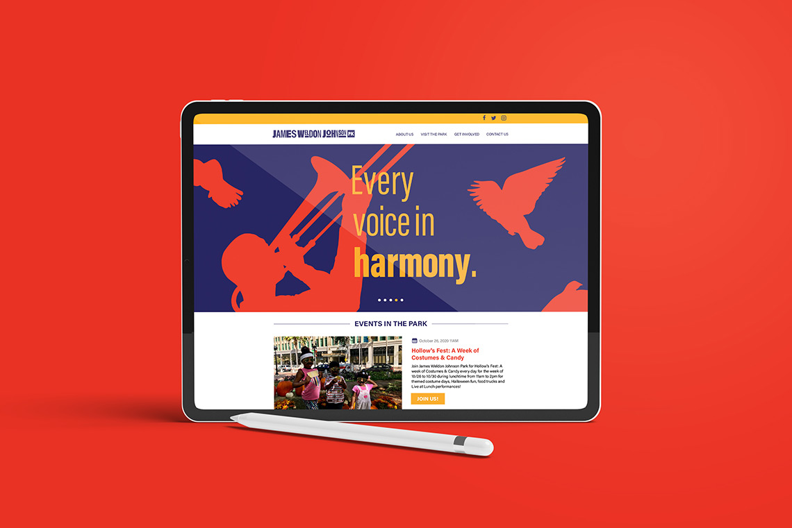 A tablet showing the James Weldon Johnson Park website.