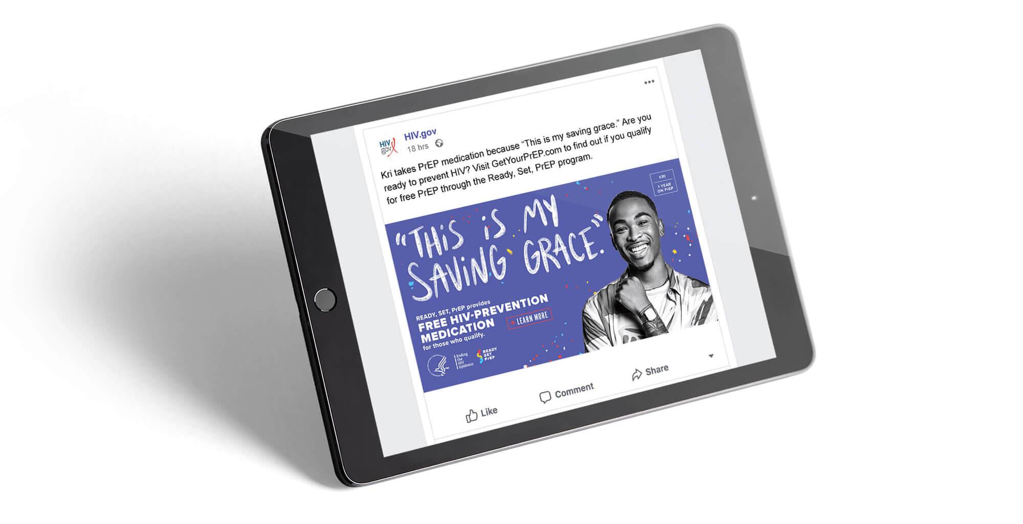 Social post on an iPad