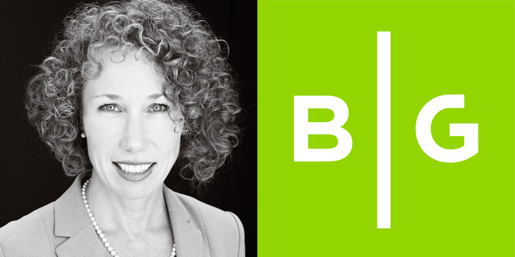 Image of Lisa Goodrich paired with the B|G logo