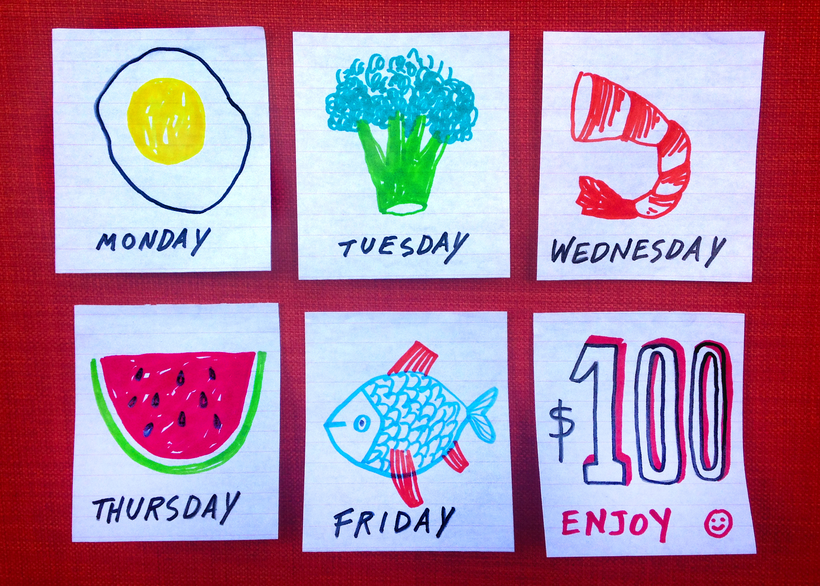 Illustration shows a different food for each day of the week. Monday: egg. Tuesday: broccoli. Wednesday: shrimp. Thursday: watermelon. Friday: fish.