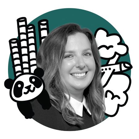 Melissa Elder with panda illustration