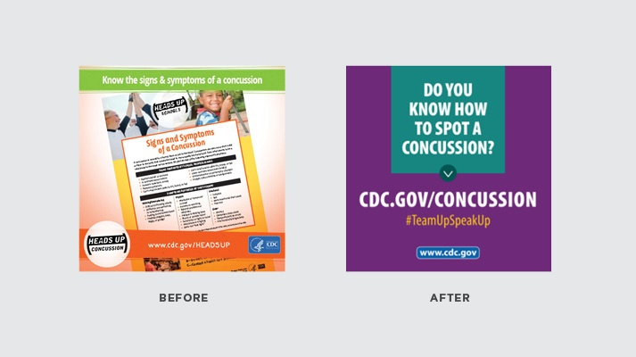 Before and after examples of @CDCInjury tweets about concussions.