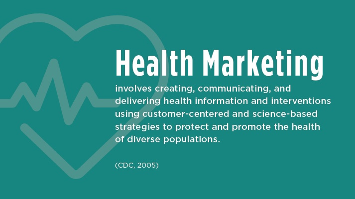 The definition of Health Marketing from the CDC: involves creating, communicating, and delivering health information and interventions using customer-centered and science-based strategies to protect and promote the health of diverse populations.