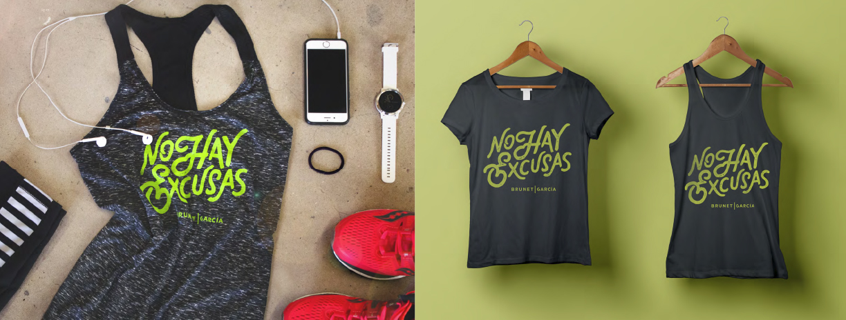 Tank top and T-shirt are pictured with running shoes, phone, headphones, and watch.