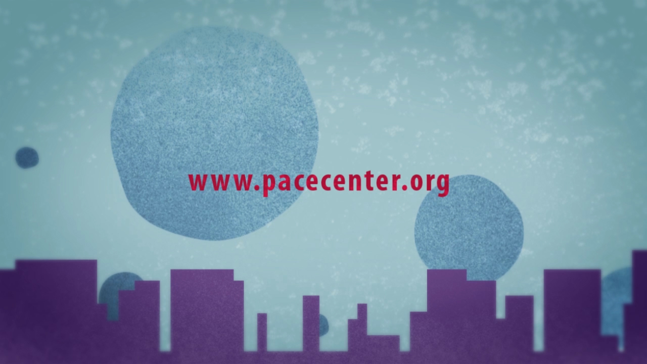 a city skyline with www.pacecenter.org