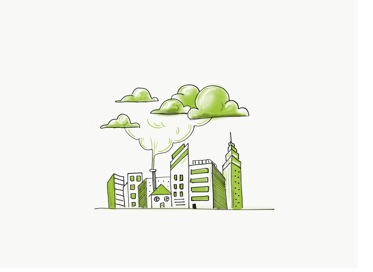 A doodle of a city using Pantone Greenery.