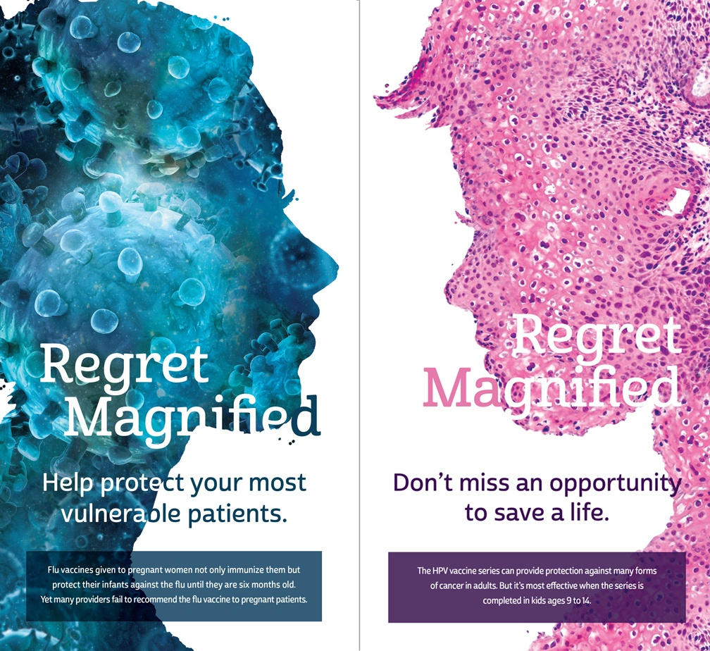 Two Regret Magnified postcards.