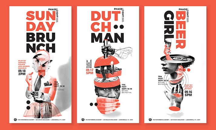 "Phase Eight Theater Posters for ""Sunday Brunch,"" ""Dutchman,"" and ""Beer Girl."""