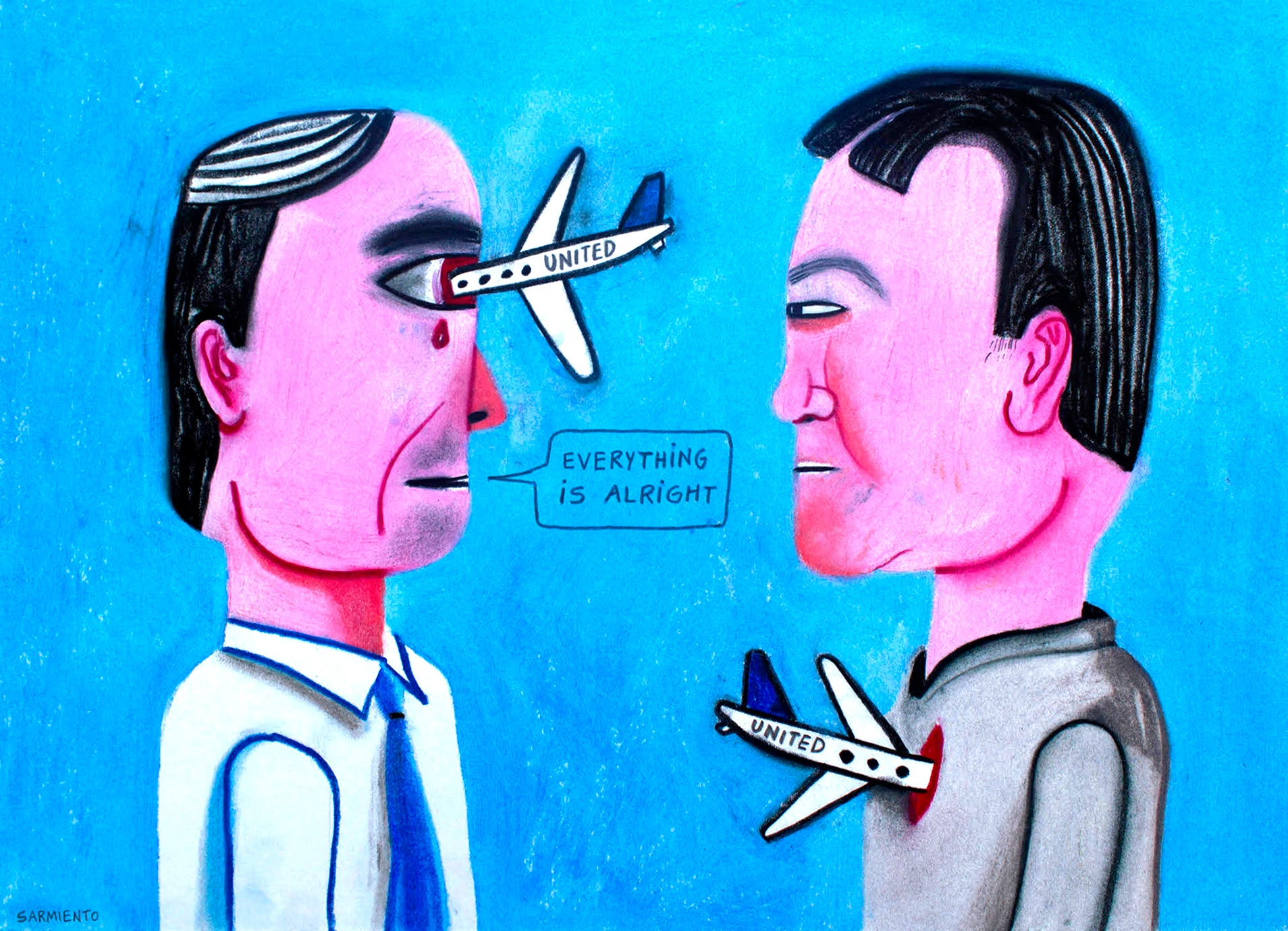 "Two men stare at each other as one says, ""Everything is alright."" United airplanes pierce the eye of one man and the heart of the other."
