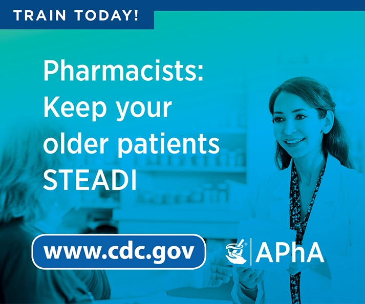 "Image of a doctor and patient with the headline ""Train today! Pharmacists: Keep your older patients STEADI>"""