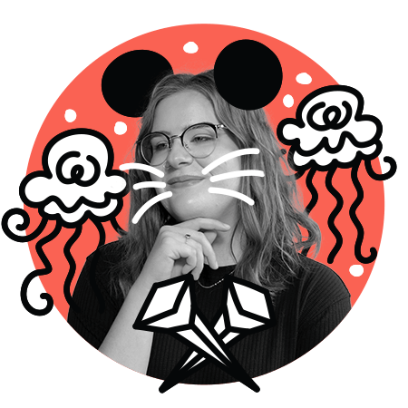 Sarah as Minnie Mouse with some wild jellyfish