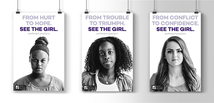 "Three posters featuring young women are shown with healines: ""From Hurt to Hope,"" ""From Trouble to Triumph, and ""From Conflict to Confidence."""