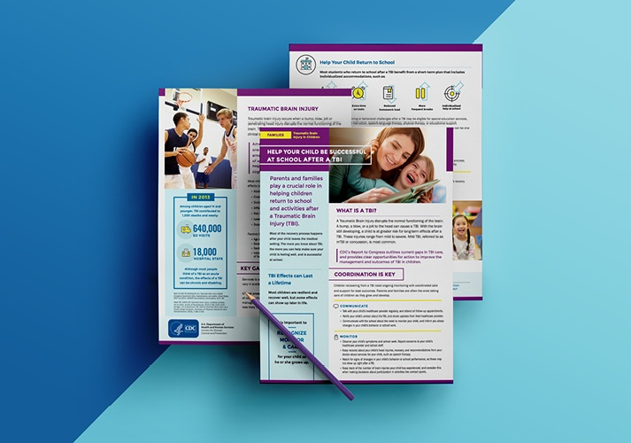 "Pages of a fact sheet titled ""Help Your Child Be Successful at School after a TBI"" are displayed."