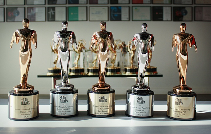 Five Telly statues from the 38th Annual Telly Awards.