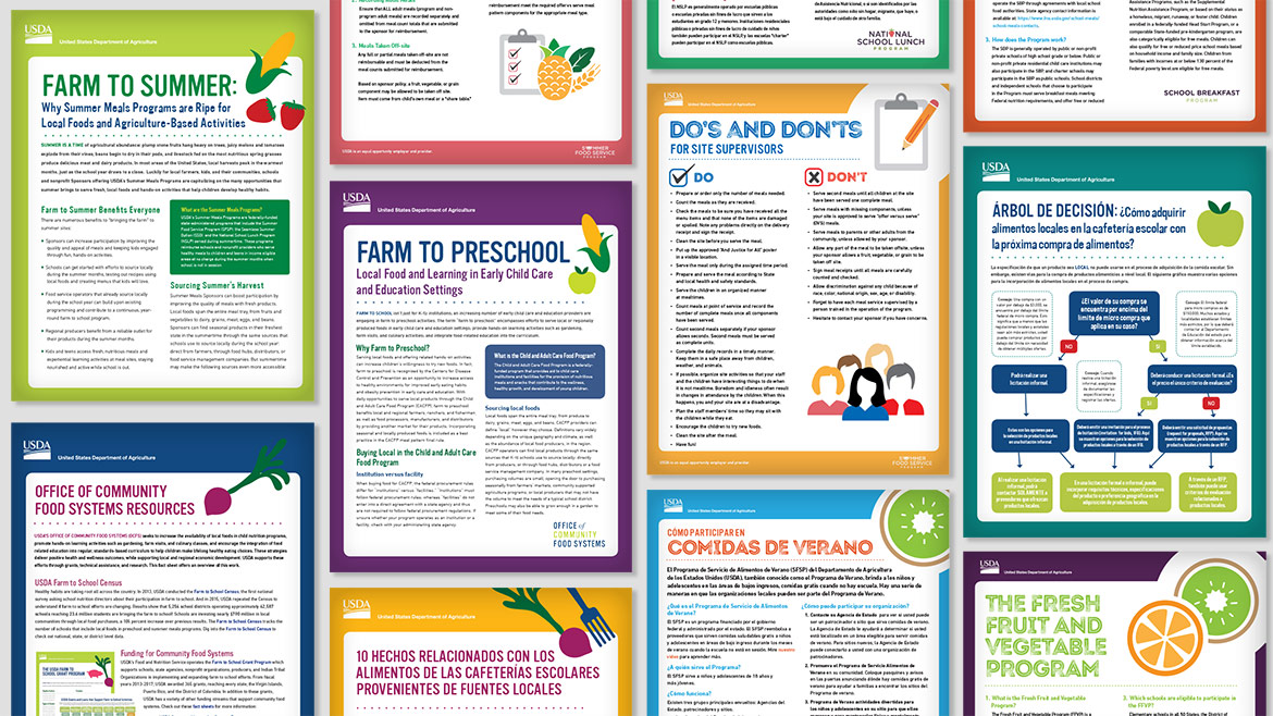 United States Department of Agriculture Farm to Schools flyers
