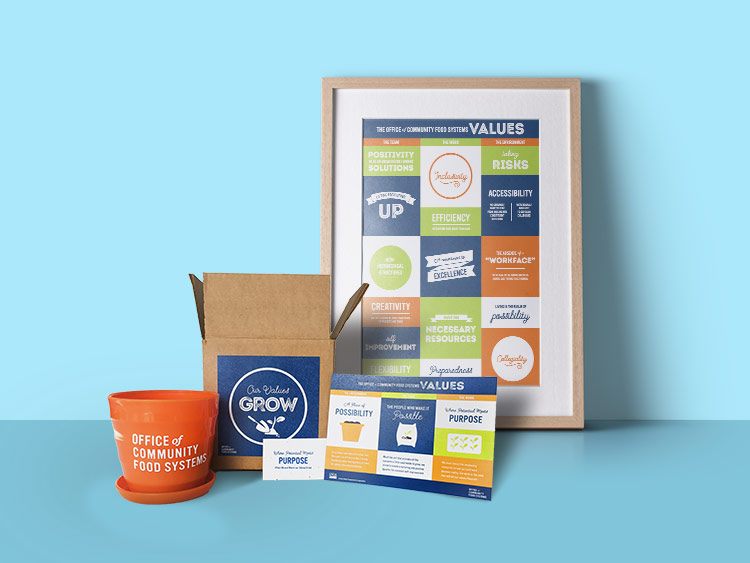 USDA Office of Community Food Systems flower pot, shipping box, card, and poster.