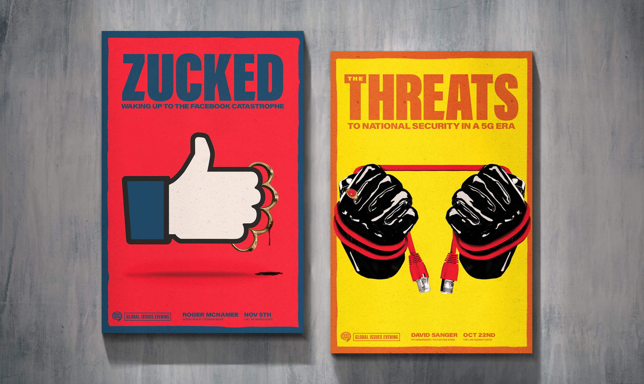 "WAC Posters for ""Zucked"" and ""Threats"""