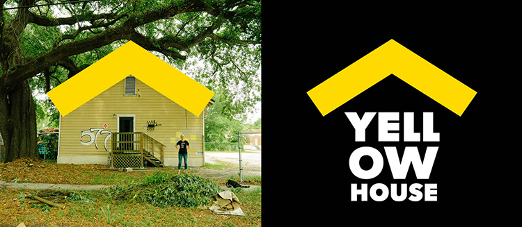 A photo of Yellow House on the left shows the roofline as the inspiration for the final logo on the right.