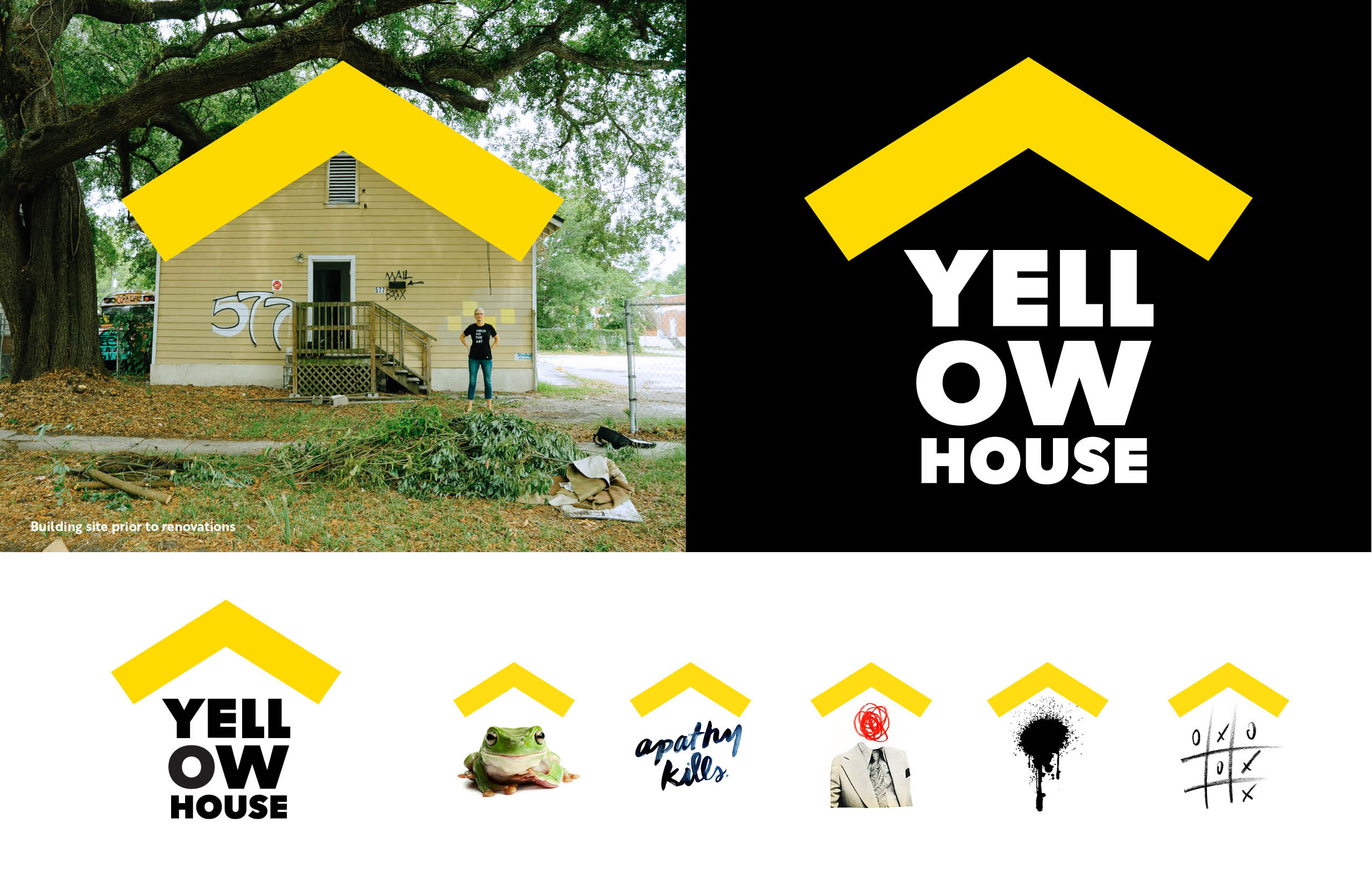 A photo of Yellow House on the left shows the roofline as the inspiration for the final logo on the right, and various uses paired with artwork are shown in a row of images below those two images.